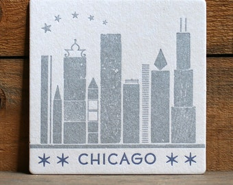 Chicago letterpress coasters Set of 5