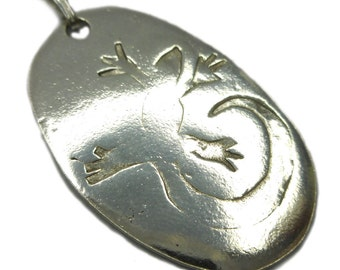 Lizard - .999 Fine Silver Pendant PMC Necklace