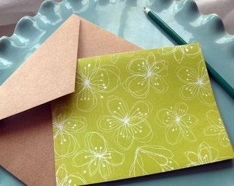 Greeting Card Set, Blank Card Set, Stationery Set, Teacher Gift, Hostess Gift, Thank You Card Set, Snail Mail, Set of 7 Cards, Blue, Green