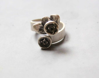 Adjustable Rustic Sterling Silver Ring with Two Black Roses - Custom made ring
