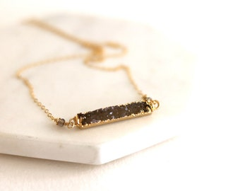 Druzy Bar Necklace Gold Multiple neutral colors 14kt goldfilled choker gift Under 75 Drusy jewelry