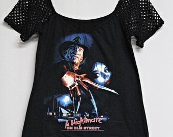 Nightmare on Elm street shirt Freddy Krueger top horror gothic alternative clothing apparel altered diy reconstructed