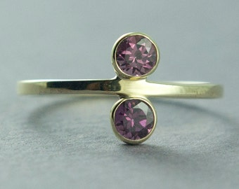 Solid Gold Ring, Rhodolite Garnet Ring, Gold Garnet Ring, Pink Stone Ring, 14K Yellow Gold Ring, Made to Order, Free Courier Shipping