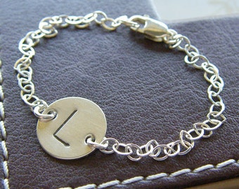"""Custom Initial Bracelet - Personalized Sterling Silver Hand Stamped Charm Jewelry - Large (1/2"""") Initials, Optional Birthstones or Pearls"""