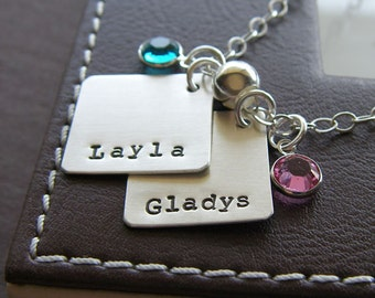 """Custom Charm Necklace - Hand Stamped Sterling Silver - Personalized Jewelry - Two 3/4"""" Diamond Pendants with Optional Birthstones or Pearls"""