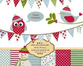 Winter Medley Clip Art  Owls, birds, snowmen, bunting with matching papers