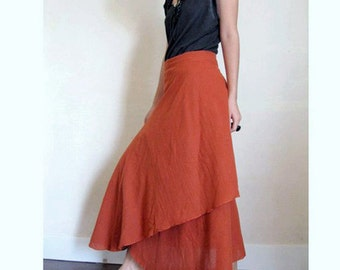 Custom Made Orange Cotton Long Summer Two Layers Circle Wrap Skirt S - L (H)