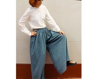 Boho hippie long elastic waist wide leg summer pants (LP 1)