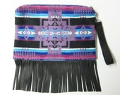 Wool Purse Wrist Bag Large Clutch Bag Blanket Weight Leather Fringe Dress Up or Down Removable Deer Leather Strap