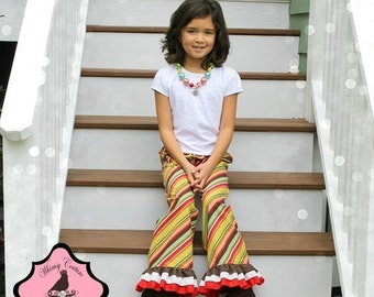SALE How to make single double or triple ruffle capris and pants PDF sewing pattern preemie size to 10 years