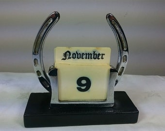 Vintage Horse Shoe Perpetual Calendar Chrome Metal  and Leather Mid Century 1950's