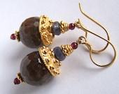 Natural Ruby, Tanzanite, Rhodolite Garnet earrings Gold Vermeil,Byzantine style, rustic precious semiprecious gemstones, earth tones, large