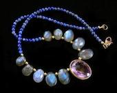 Labradorite, Ametrine, Lapis Lazuli necklace, rustic faceted purple blue green gray gemstone jewelry, bohemian feminine delicate, raw brass