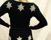 Black Tunic Celtic Stars Stretchy Cotton Snowflakes Long Sleeve Made in USA Sm M L XL