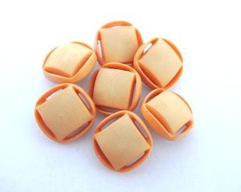 10 Vintage plastic buttons square shape beautiful light orange 13mm