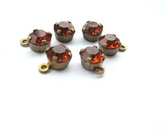 6 Vintage Swarovski dangling beads,crystals mounted in brass setting, 6mm, self loop