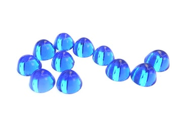 6 Vintage cabochon, translucent glass blue color, 11mm, 7mm height