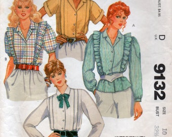 1984 Nursing Blouse Concealed snap openings Breast Feeding Shirt Sewing Pattern  Small size 10 McCalls 9132