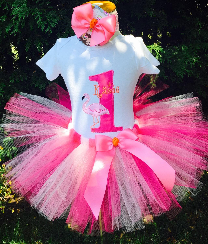 Baby Girl 1st Birthday Tutu Outfit Flamingo Party Orange
