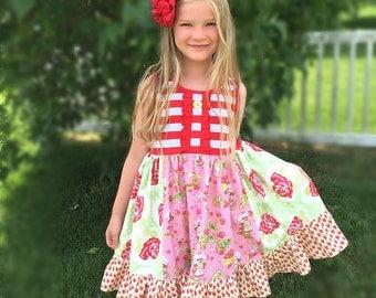 Strawberry shortcake Pink Momi boutique girls birthday vacation dress