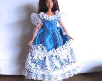 Barbie Dress Royal Blue and White with Silver Sparkles