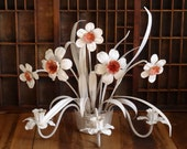 Vintage Tole Candle Sconce Toleware White Flowers  Daffodils Narcissus Italy
