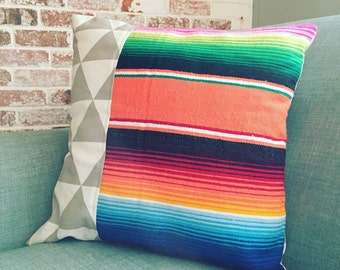 Serape Pillow Cover - 16x16 in - tangerine serape/gray triangle print