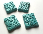 Turquoise Magnesite Carved Rectangle Focal Stones