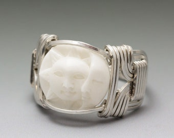 Carved Bone (bovine) Sun & Crescent Moon Face Cameo Sterling Silver Wire Ring - Made to Order and Ships Fast!