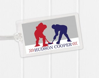 Hockey Bag Tag - Sports Bag Tag - Diaper Bag Tag - Kids Bag Tag Luggage Tag - Hockey