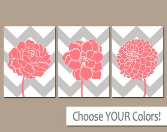 Coral Gray Bathroom Artwork, CHEVRON Flower Wall Art, CANVAS or Prints, Coral Bedroom Pictures, Succulent Flower Dahlia Set of 3 Home Decor