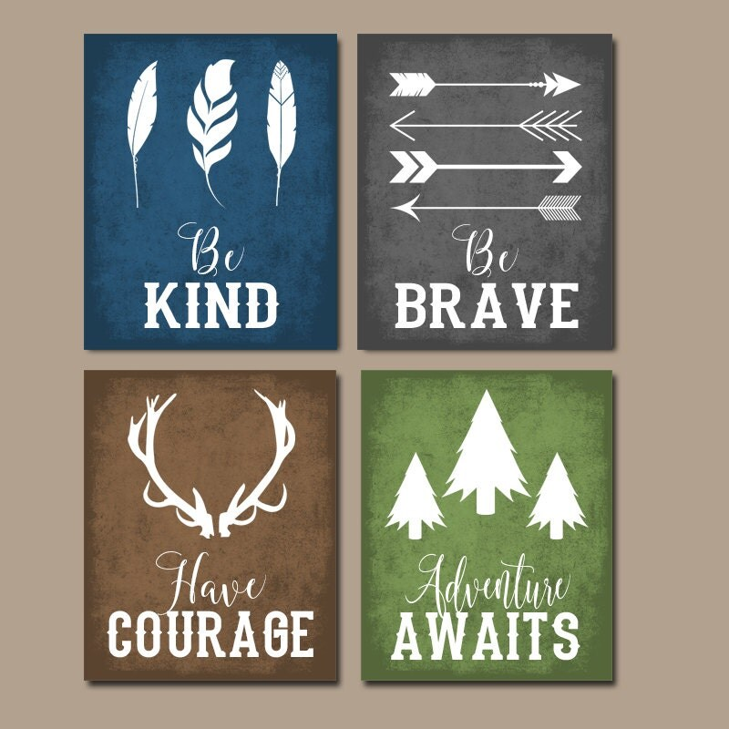 Woodland quote wall art canvas or print boy nursery decor for Boys wall art