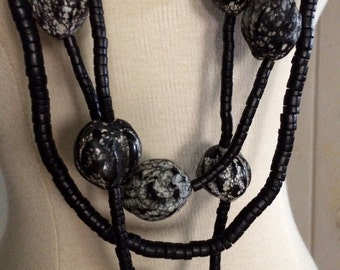 Vintage Artisan Painted Seed and Coconut Shell Necklace Triple Strand, Long, Statement Piece, OOAK
