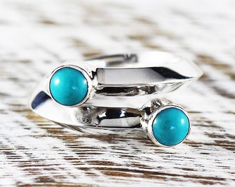 Blue Turquoise Ring Sterling Silver Dainty Womens Wedding Band Rings
