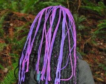 Interstellar Weave Headband with Falls, Purple Dread Wrap Intergalactic Apparel Festival Clothing, Hippie Headband, Gypsy Dreadlock Hairband