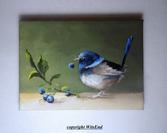 Wren Bird painting original Fairy Wren and berries art blueberries