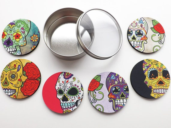 Dia de los Muertos COASTERS stocking stuffer party favor home decor hostess gifts day of the dead halloween sugar skull wedding housewarming