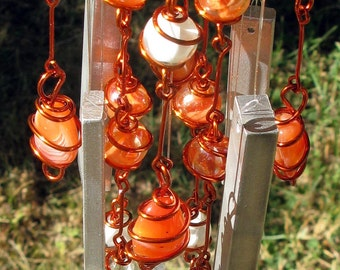July Birthstone, Carnelian Wind Chime with Recycled Aluminum and Copper Wrapped Orange & White Cat's Eye Glass Marbles, Garden Decor