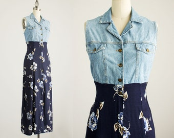 20% Off With Coupon Code! 90s Vintage Blue Denim Floral Print Button Down Maxi Dress / Size Small / Medium
