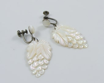 Vintage Carved Mother of Pearl Dangle Grape Cluster Screw Back Earrings