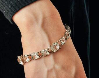 Vintage Art Deco Sterling & Crystal Bracelet