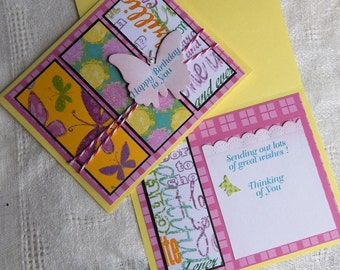 Handmade Birthday Card: complete card, handmade, balsampondsdesign, greeting card, butterfly, yellow, pink, unique, ooak