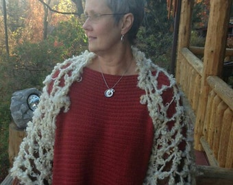 The Sheep Shrug Farm Pattern, knit with locks pun yarn, quick knit from our flock