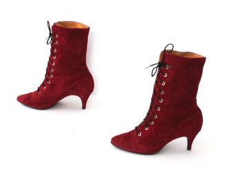 size 5 VICTORIAN sanguine suede leather 70s 80s WITCHY lace up high heel ankle boots