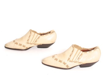 size 8 CHELSEA tan leather 80s 90s WESTERN woven slip on ankle boots