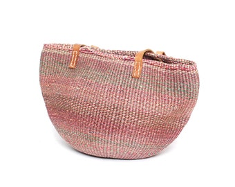 SISAL pink woven 70s JUTE LEATHER tote bucket bag
