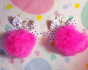 Pompom earrings, hot pink faux fur polka dot bow 90s fairy kei jewelry