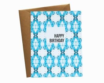 HAPPY BIRTHDAY Aqua/Indigo Shibori Wallpaper Pattern Greeting Card - Single Card