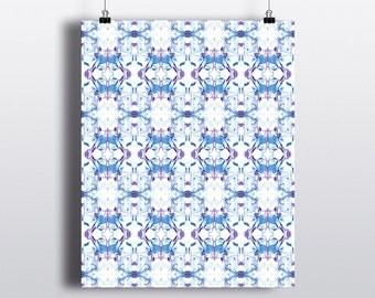ART PRINT 8x10 Bohemian Blue + Burgundy Pattern