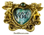 Heart Shaped Frame - Little Demons - I love You - Valentine's Day - Goth - Home Decor - Unique Decor